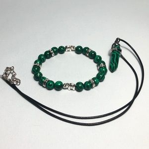 Other - *BUNDLE* Malachite Stone Necklace W/ Bracelet